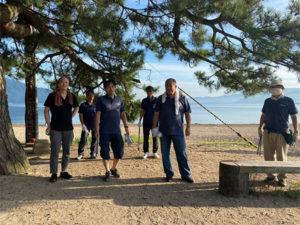 毎年恒例の早朝の松原海岸清掃